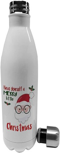 750ml Merry Little Christmas Santa Novelty Stainless Steel Vacuum Insulated Water Bottle